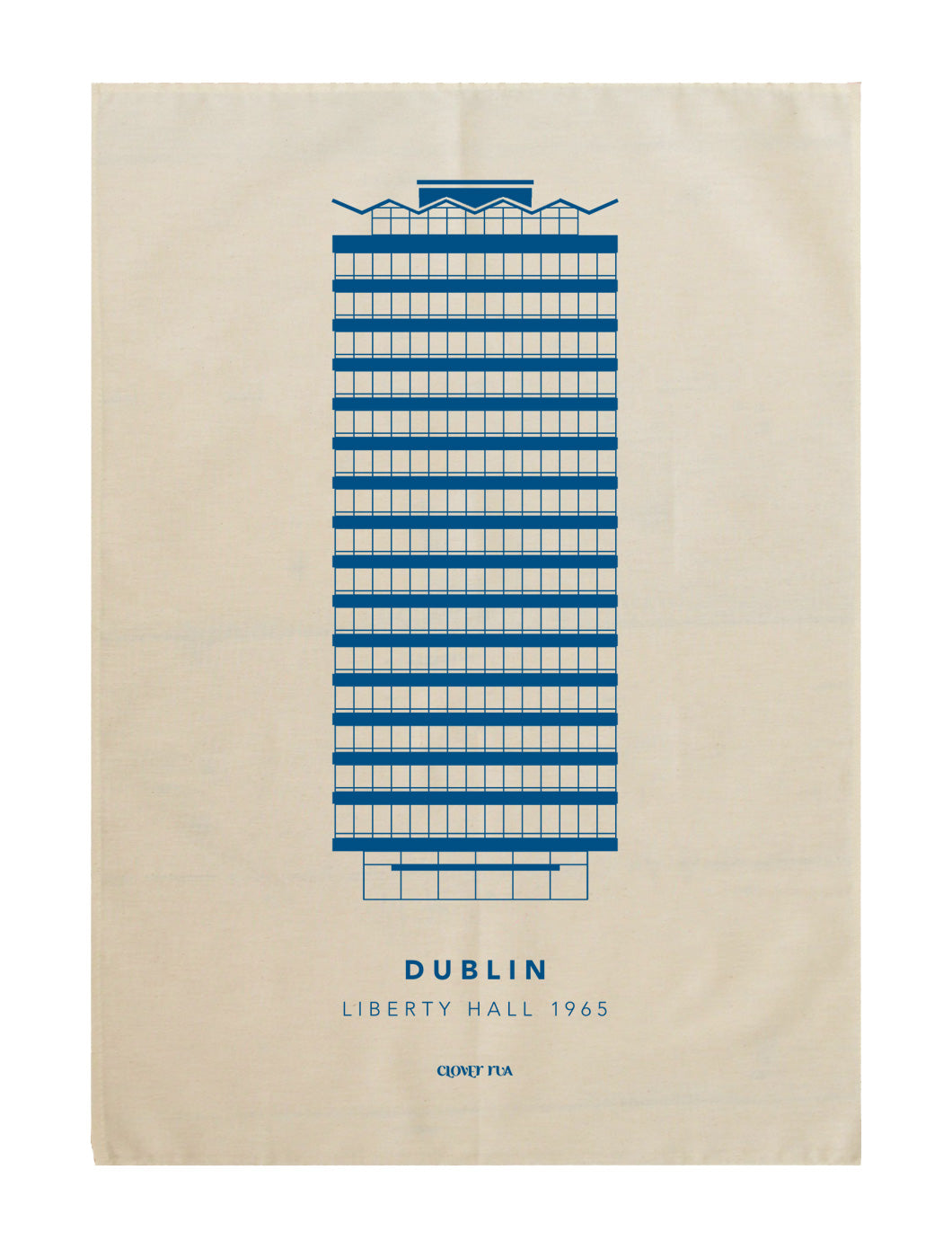 Liberty Hall 100% cotton tea towel, blue print.