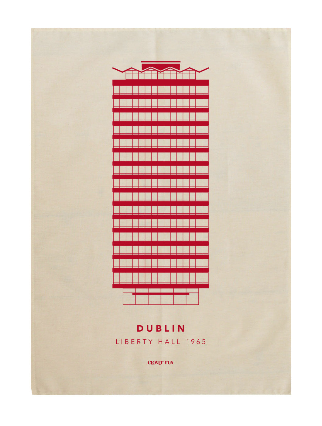 Liberty Hall 100% cotton tea towel, red print.