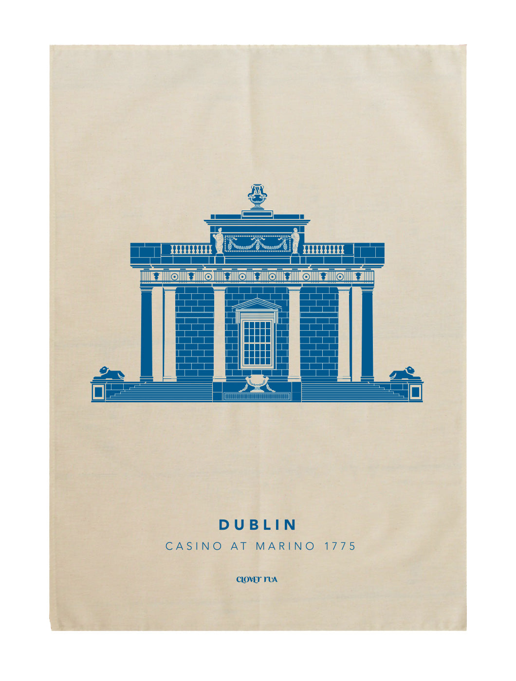 The Casino at Marino 100% cotton tea towel, blue print.