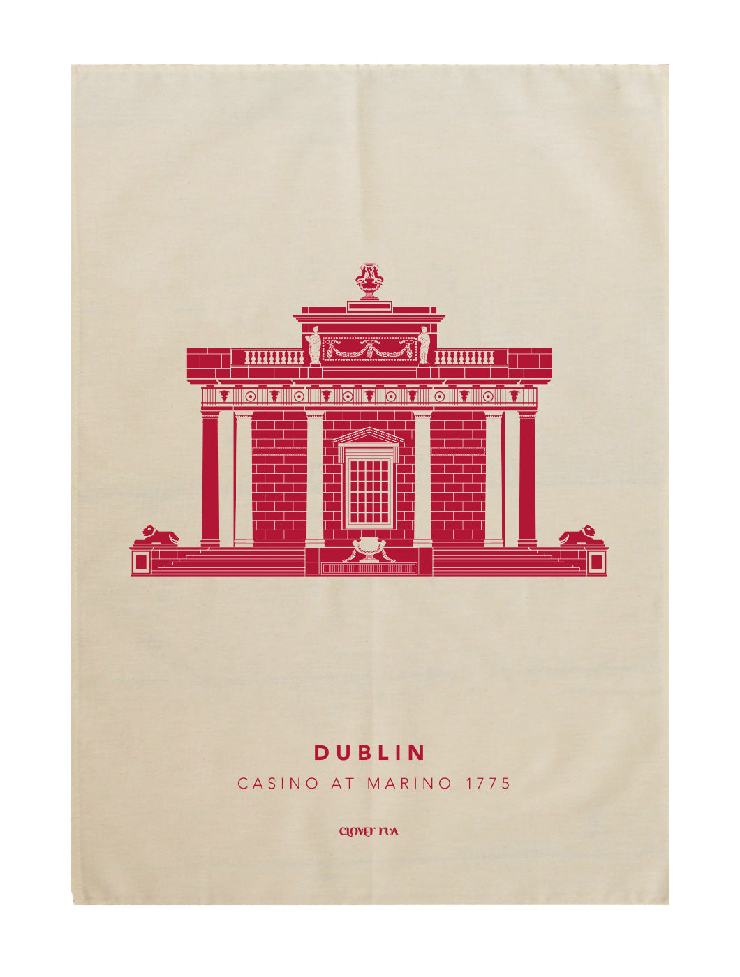 The Casino at Marino 100% cotton tea towel, red print.