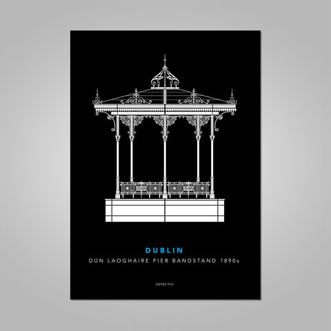 Dún Laoghaire Bandstand white line drawing on black background unframed print, A4 and A3; or A4 framed in white frame.