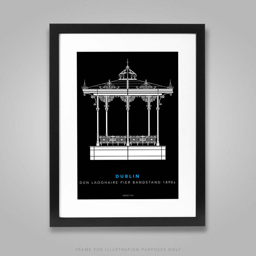 For illustration purposes only - Dún Laoghaire Bandstand white line drawing on black background A4 print, framed with mount in 300mm x 400mm black frame.