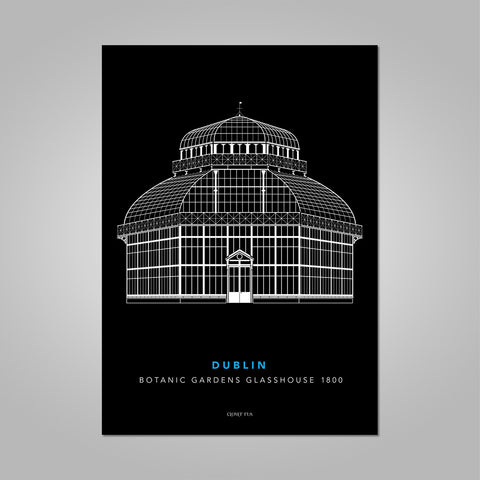 The Botanic Gardens Glasshouse white line drawing on black background unframed print, A4 and A3; or A4 framed in white frame.