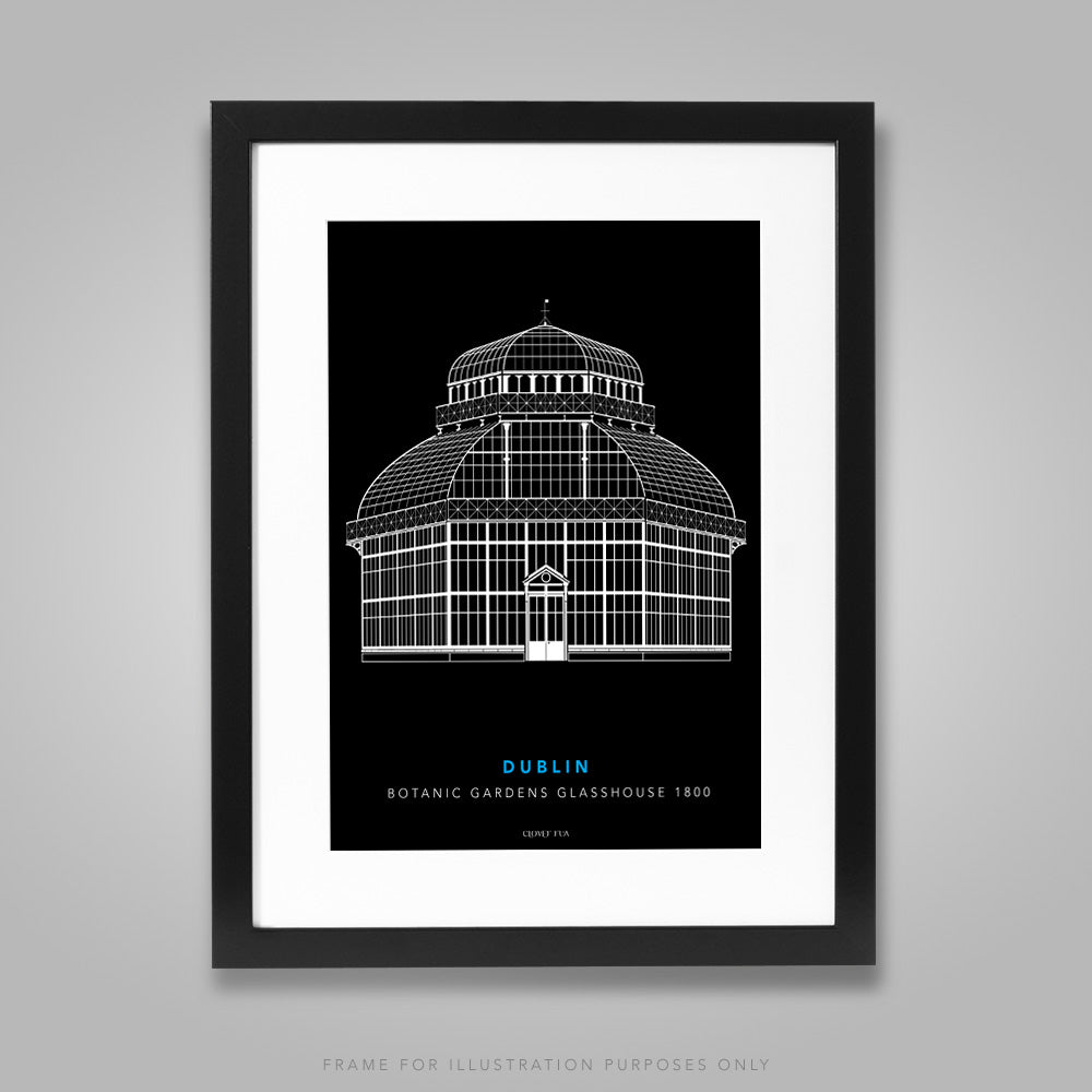 For illustration purposes only - The Botanic Gardens Glasshouse white line drawing on black background A4 print, framed with mount in 300mm x 400mm black frame.
