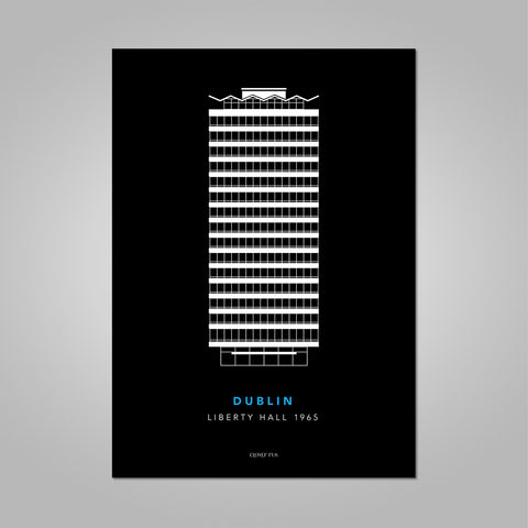 Liberty Hall white line drawing on black background unframed print, A4 and A3; or A4 framed in white frame.
