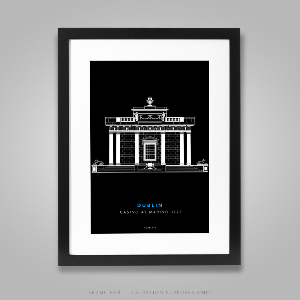 For illustration purposes only - The Casino at Marino white line drawing on black background A4 print, framed with mount in 300mm x 400mm black frame.