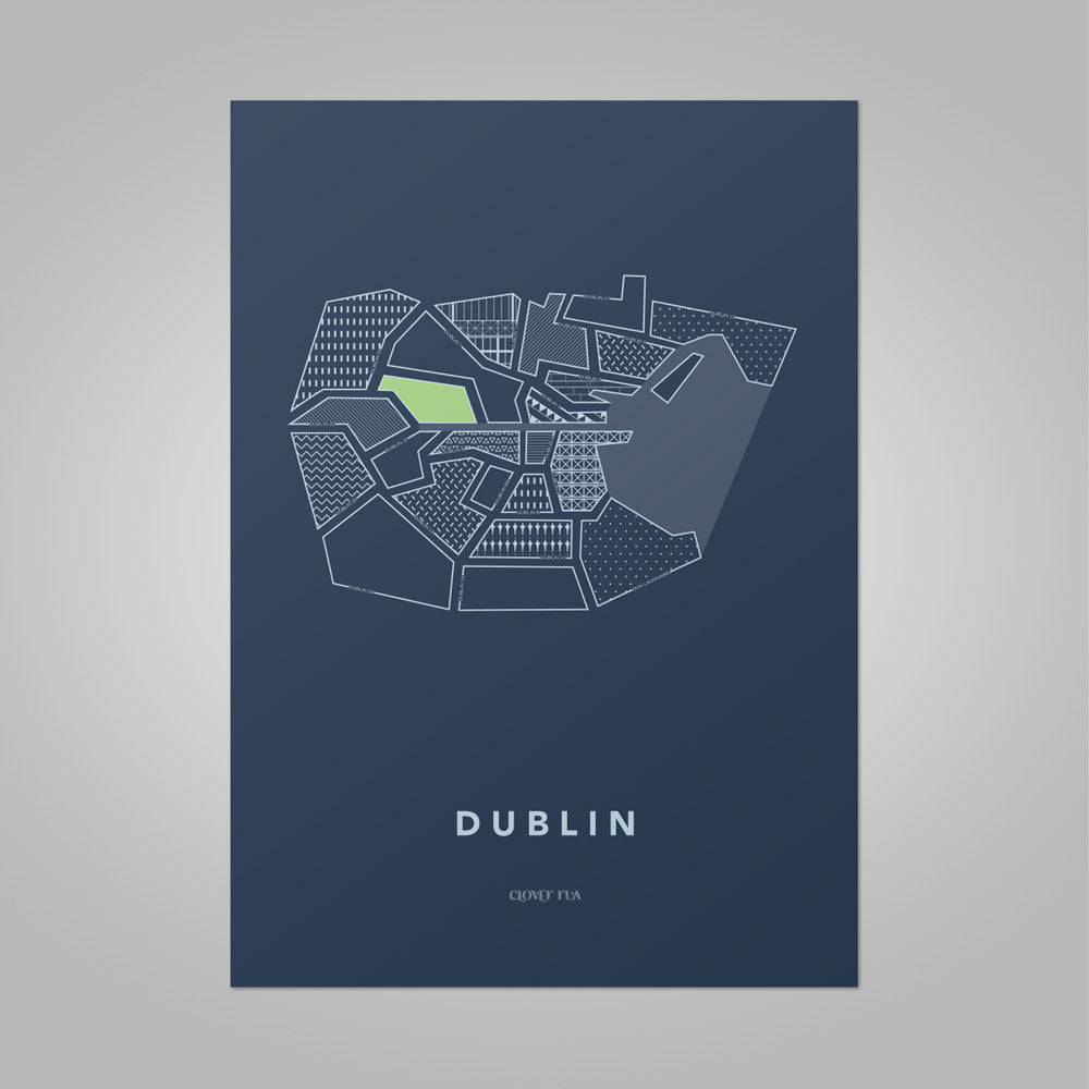 Dublin City - Stylised Map Print
