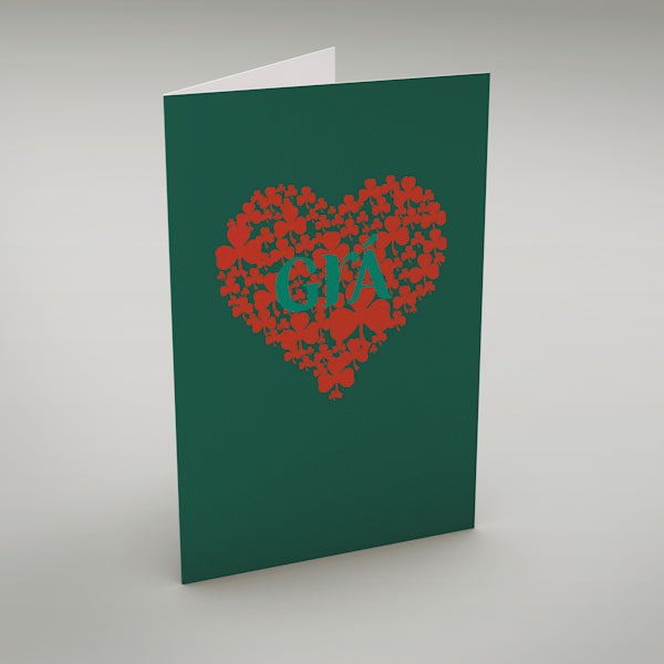 "Grá - in green - Irish language Greeting Card translates as ""Love"" perfect for a Valentine or wedding card!"