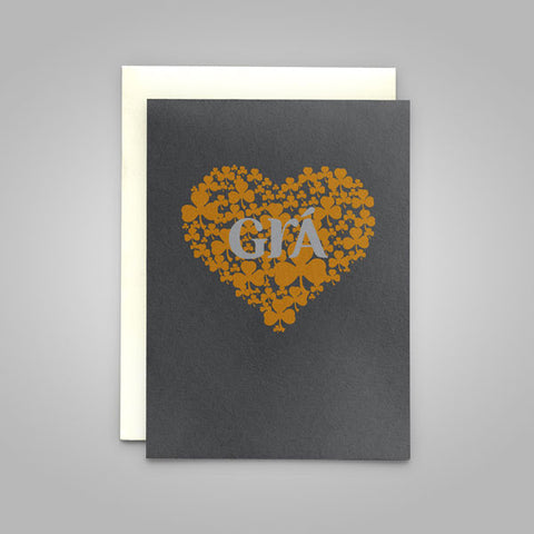 "Grá - in graphite - Irish language Greeting Card translates as ""Love"" perfect for a Valentine or wedding card!"