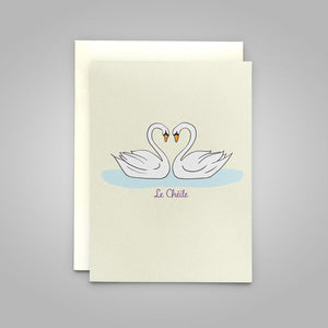"Swans ""Le Chéile"" - Irish language greeting card translation ""Together"""