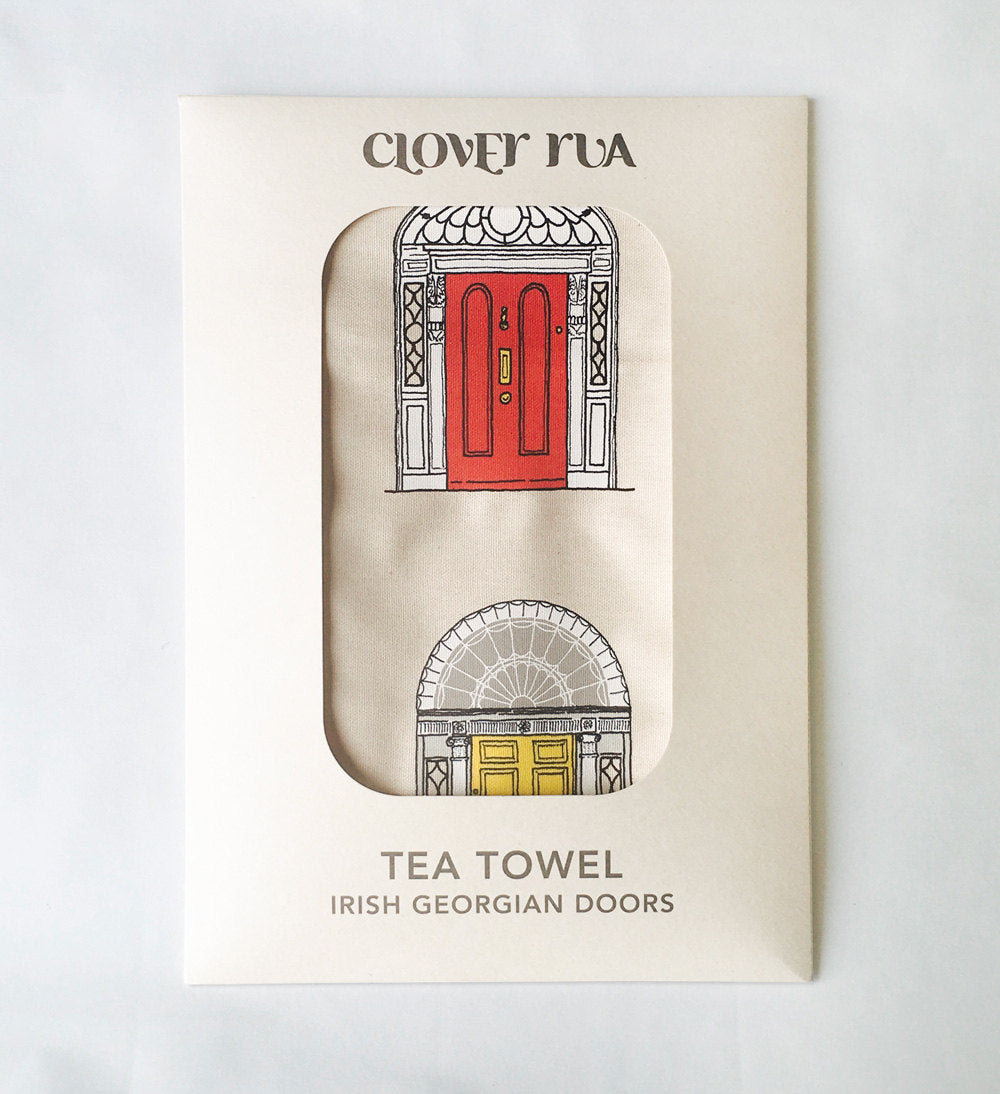 Georgian Doors, primary colours tea towel, in specially designed packaging.