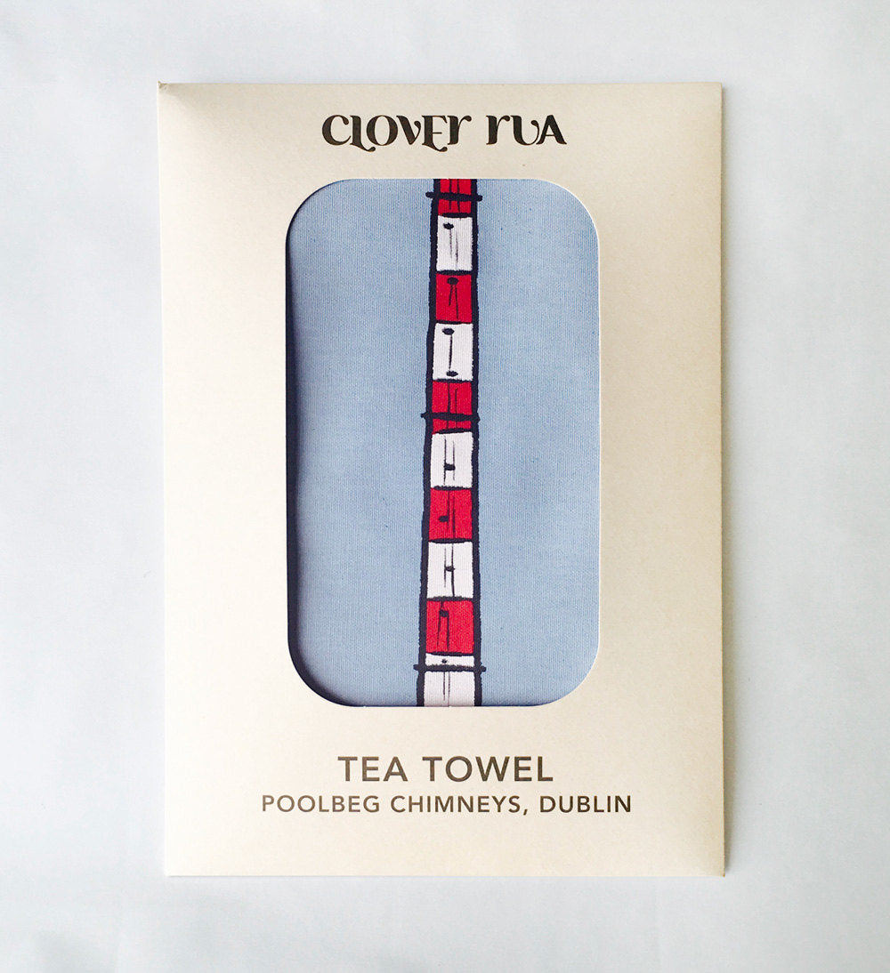 Poolbeg Chimneys tea towel, in specially designed packaging.