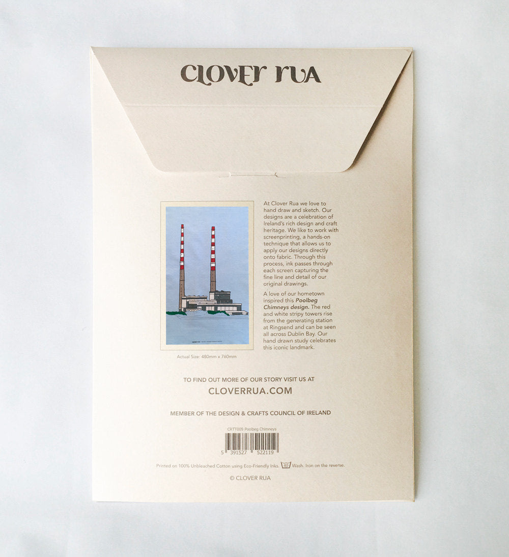 Reverse side of the Poolbeg Chimneys tea towel, in specially designed packaging, with design explanation.