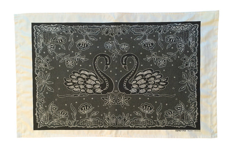 Swans Irish Lace design tea towel.