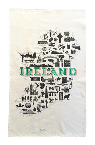 Ireland Icons tea towel.