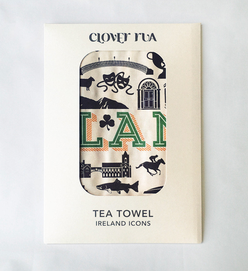 Ireland Icons tea towel, in specially designed packaging.