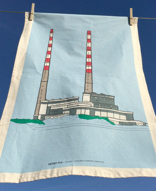 Poolebeg tea towel on clothes line, styled image.