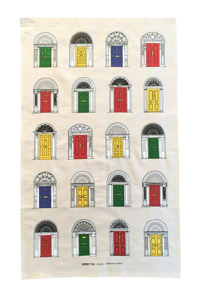 Georgian doors, primary colours tea towel.
