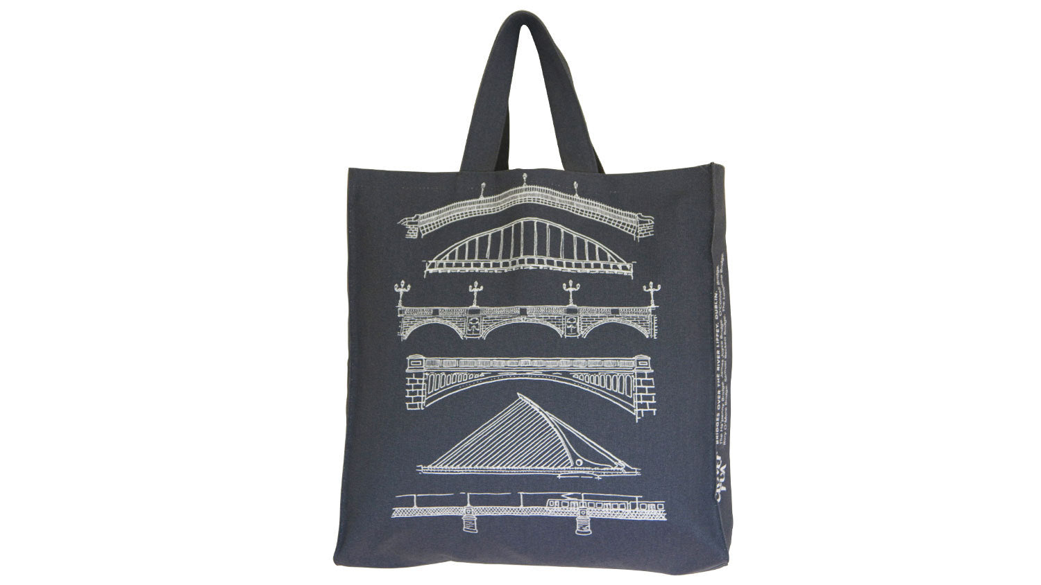 Dublin Bridges tote bag, white print on charcoal.