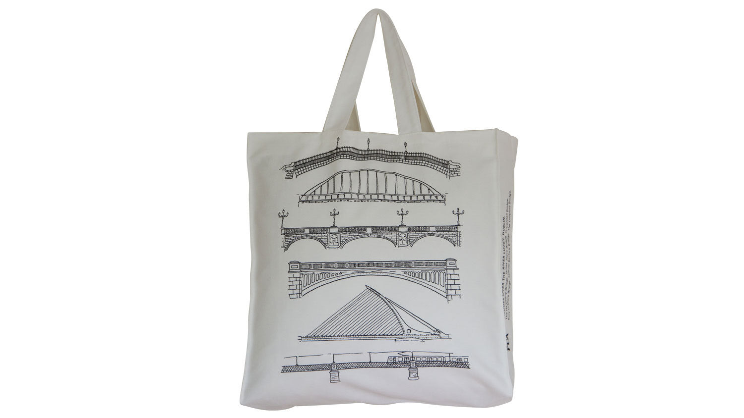 Dublin Bridges tote bag, black print on cream.