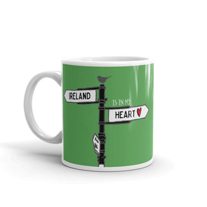 Irish Roadsign Mug in Emerald Green - Ireland is in my Heart. This is the perfect gift for lovers of the Emerald Isle.