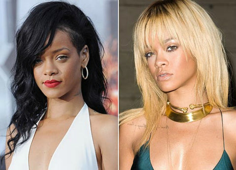 Rihanna before and after bleaching