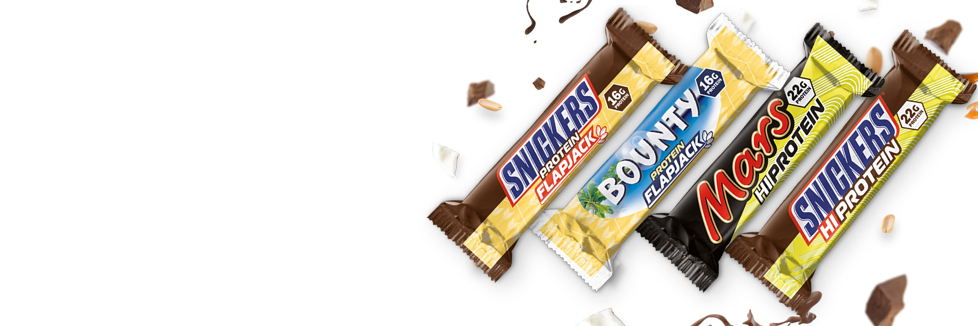 Snickers Hi Protein Bar, Bounty Protein Flapjack, Mars Hi Protein Bar, Snickers Protein Flapjack - Box of Protein