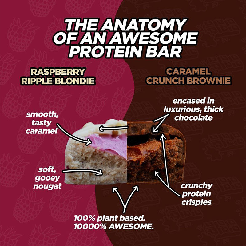 Awesome Supplements Vegan Protein Bar - Caramel Crunch Brownie | Box of Protein