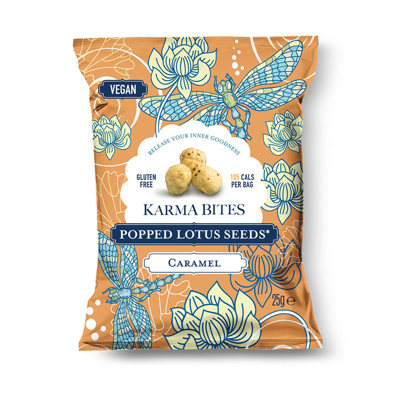 Karma Bites Vegan Plant Based Popped Lotus Seeds - Caramel - Box of Protein