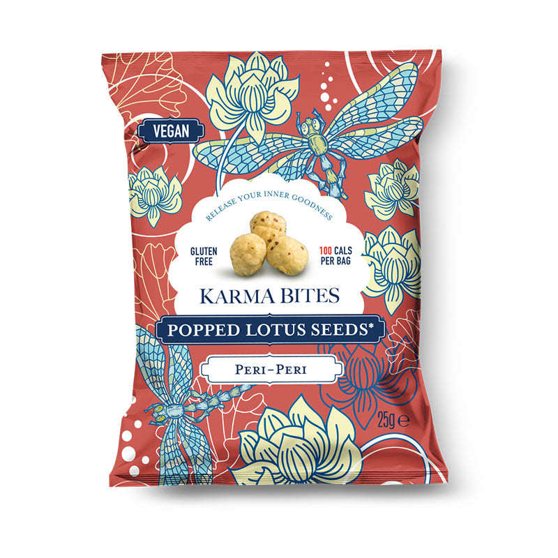 Karma Bites Vegan Plant Based Popped Lotus Seeds - Peri Peri - Box of Protein
