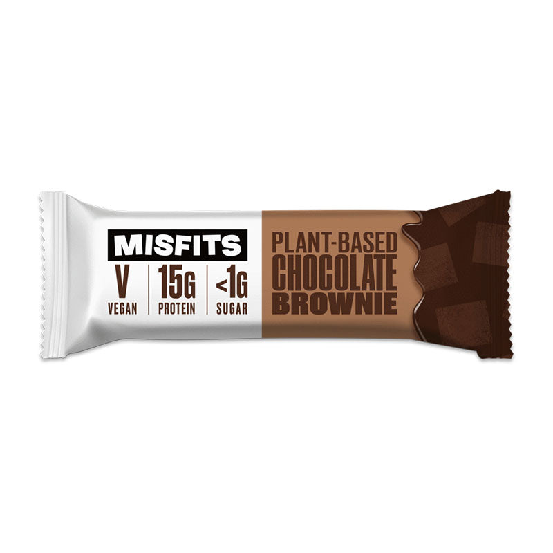 Misfits Vegan High Protein Low Sugar Bar - Chocolate Brownie | Box of Protein