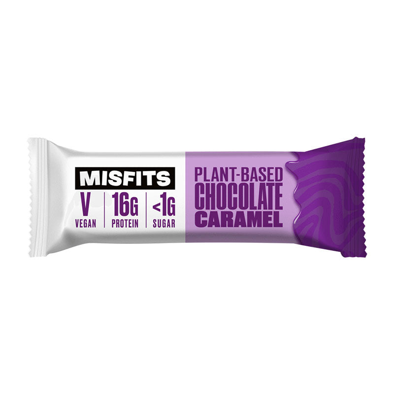 Misfits Vegan High Protein Low Sugar Bar - Chocolate Caramel - Box of Protein
