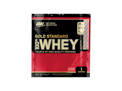 Optimum Nutrition Gold Standard 100% Whey Protein Powder - Birthday Cake (30g) - Box of Protein