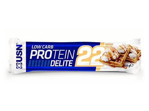 USN Low Carb Protein Delite 22 Bar - Banana Waffle (60g) - Box of Protein