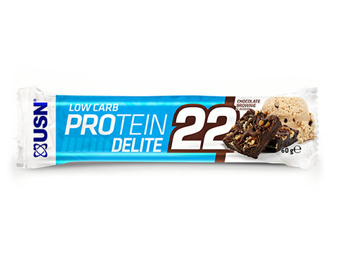 USN Low Carb Protein Delite 22 Bar - Chocolate Brownie (60g) - Box of Protein