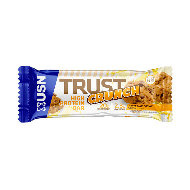 USN Trust Crunch Protein Bar - White Chocolate Cookie Dough - Box of Protein