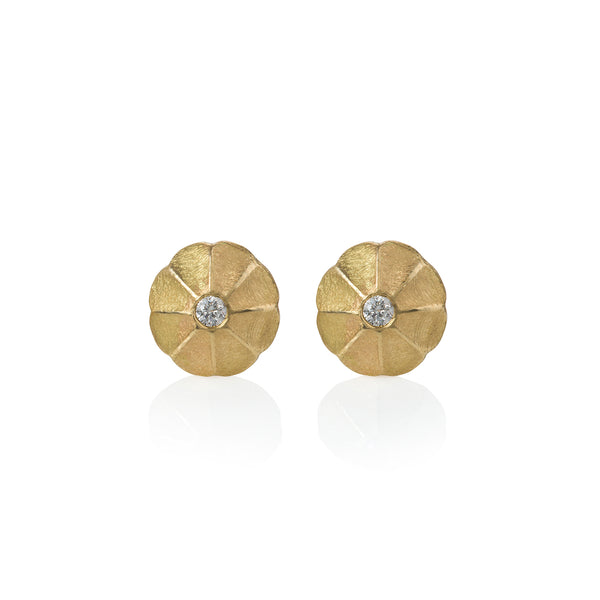 Textured Gold and Diamond Stud Earrings
