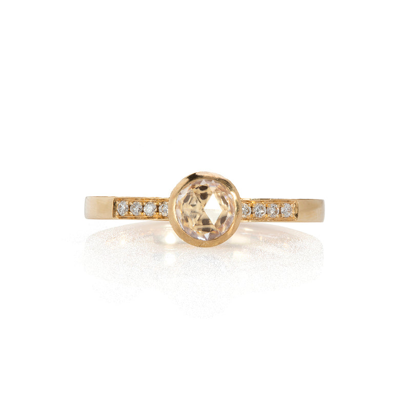 Champagne Rose Cut Diamond Solitaire Ring