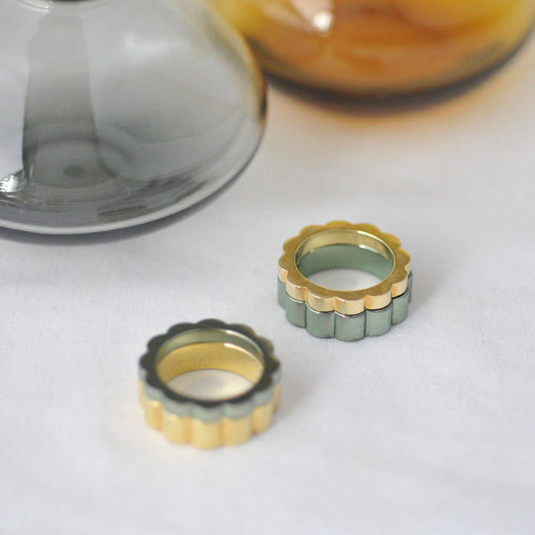Gold and Coloured Stacking Rings