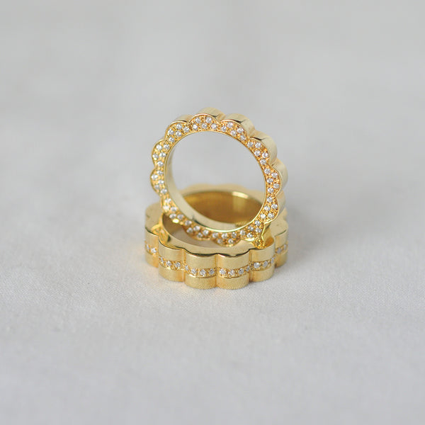 Diamond Set Gold Shakti Rings