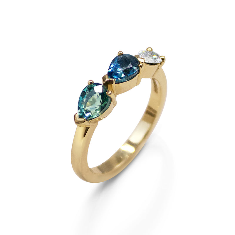 Alternative  Teal Sapphire and Diamond Pear Engagement Ring