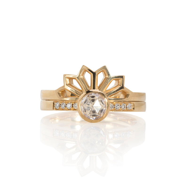 Rose Diamond Solitaire and Fan Ring