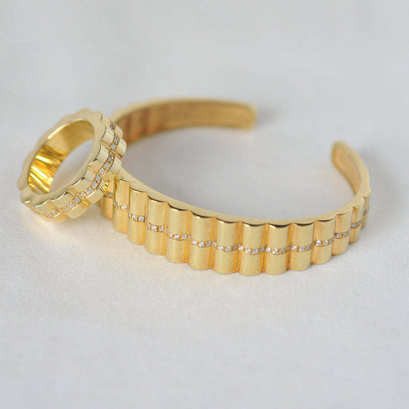 Shakti Diamond and Gold Ring and Cuff