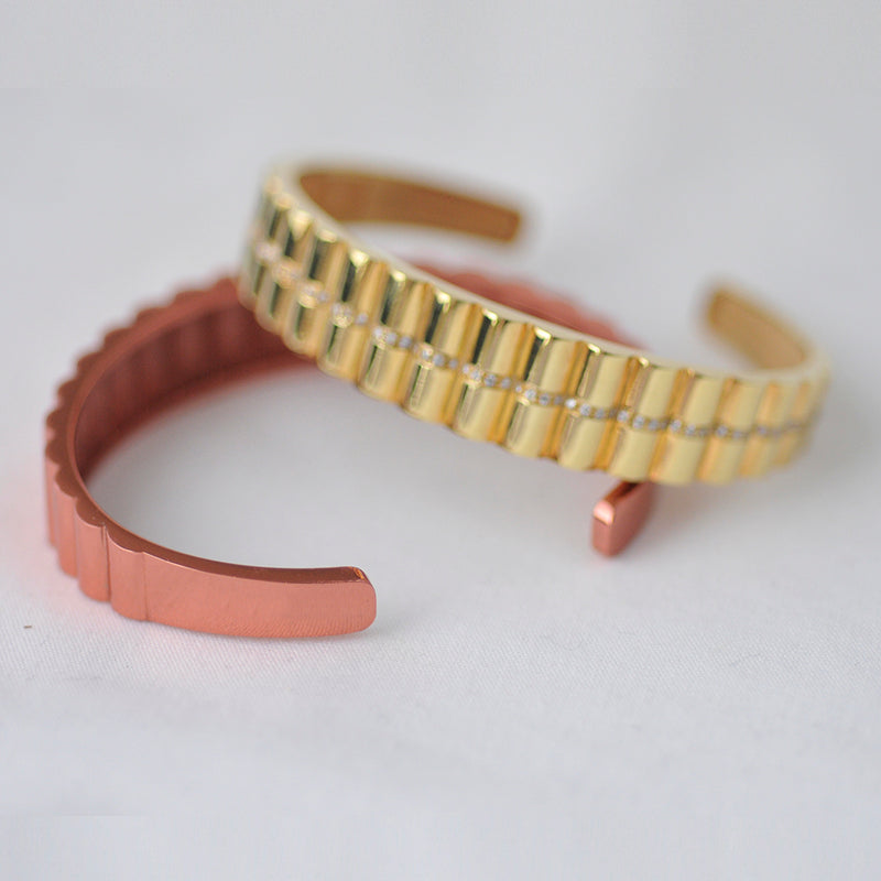 Gold and Diamond Cuff Bangle