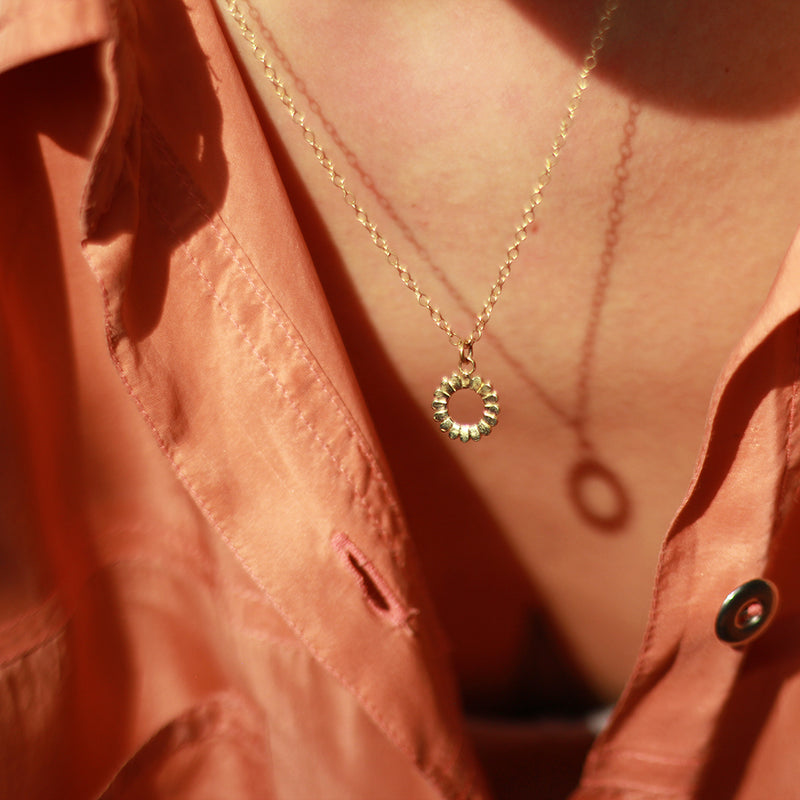 Gold Hoop Pendant and Necklace