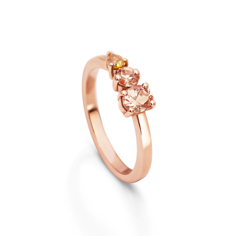 Peach Triple Stone Recycled Rose Gold  Ring
