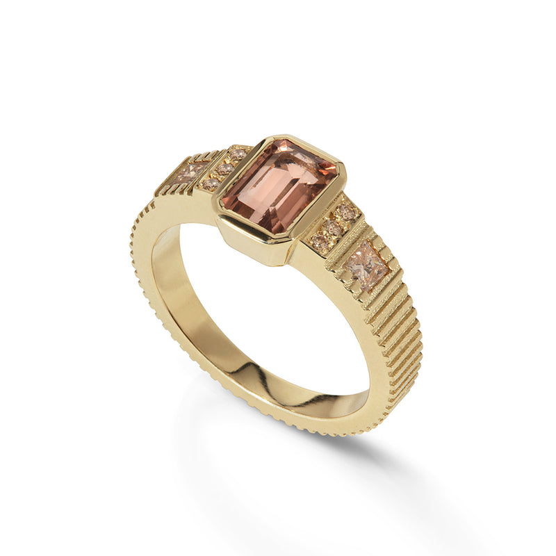 Peach Tourmaline Diamond Ring