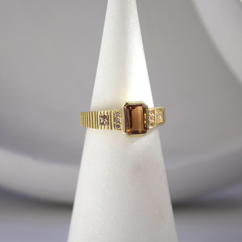 Peach Tourmaline Alternative Engagement Ring