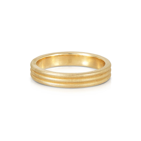 Grooved Patterned Gold Ring