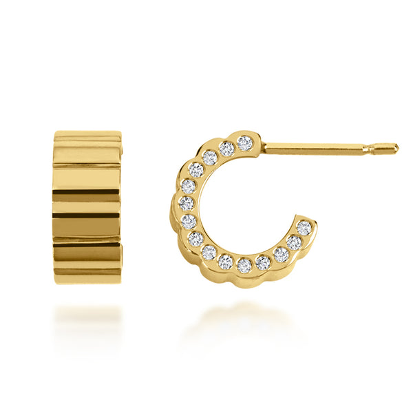 Prana Diamond and Gold Hoops